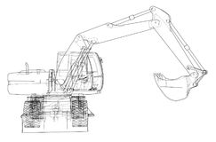 Outline of excavator isolated on white background. Vector EPS10 format, rendering of 3d Royalty Free Stock Images