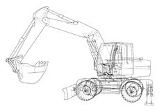 Outline of excavator isolated on white background. Vector EPS10 format, rendering of 3d Stock Photography