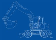 Outline of excavator isolated on white background. Vector EPS10 format, rendering of 3d Royalty Free Stock Photography