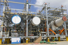 Outline of fabrication. A modular equipments of refinery is in fabrication in China stock images