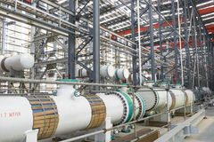 Outline of fabrication. A set of equipments of refinery is in fabrication in China stock photo