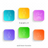 Outline family icons on web buttons Stock Images