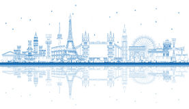 Outline Famous Landmarks in Europe with Reflections. Vector Illustration. Business Travel and Tourism Concept. Image for Presentation, Banner, Placard and Web Royalty Free Stock Photo