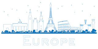 Outline Famous landmarks in Europe. royalty free illustration