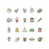 Outline fast food vector icons with flat color elements Royalty Free Stock Photos