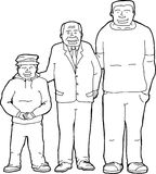 Outline of Father with Offspring. Outline cartoon of father with son and grandson Royalty Free Stock Photos