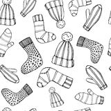 Outline Female knitted accessories seamless pattern on Sketchy style . Stock Images