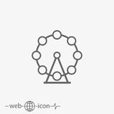 Outline ferris wheel vector icon Stock Photos