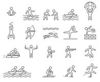 Outline figure athletes. Icons popular sports Royalty Free Stock Photo