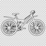 Outline figure bicycle half-face on transparent background, vector contour black and white line drawing, stencil. Monochrome picture, bike sketch, silhouette Stock Photography