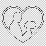 Outline figure couple in love on transparent background, vector black and white line drawing, stencil. Contour portrait. Men and women amorously looking at each Royalty Free Stock Images