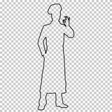 Outline figure man cook full-length on transparent background, contour portrait male kitchener in a chef s form, torque. In an apron, vector silhouette chef Stock Photography