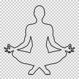 Outline figure of a man sitting in lotus pose on a transparent background, stencil, yogi silhouette. Meditation human. Shape, line portrait, black and white Royalty Free Stock Image