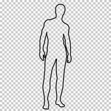 Outline figure naked man full-length with a beautiful sports figure, contour portrait male muscular athlete on. Transparent background, vector silhouette human Stock Photo