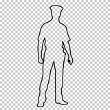 Outline figure police man standing front side, contour portrait male cop full-length on transparent background, vector. Silhouette human in a police uniform Royalty Free Stock Photography