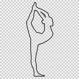 Outline figure woman doing stretching legs, split on transparent background, silhouette girl engaged in gymnastics, yoga. Contour portrait, black and white Stock Photography
