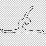 Outline figure woman doing stretching legs, split on transparent background, silhouette girl engaged in gymnastics, yoga. Contour portrait, black and white Stock Image