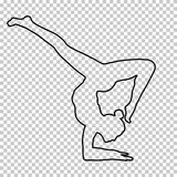 Outline figure woman handstand on transparent background, silhouette girl makes a stand on the hand, yoga pose. Gymnastic, contour portrait, black and white Stock Photography