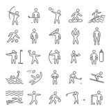 Outline figures of athletes popular sports. Line art sport icon set. Vector symbols Royalty Free Stock Images