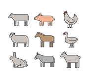 Outline figures of farm animals. Vector figures icon set Stock Photo