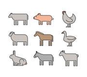 Outline figures of farm animals. Vector figures icon set Stock Photo