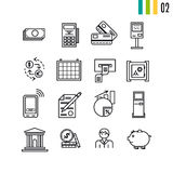 Outline finance icons Royalty Free Stock Photos