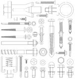 Outline fixings. Outline diagram of various fixings including screws bolts nuts washers rivets Stock Photography