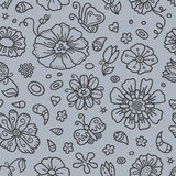 Outline of floral pattern. Royalty Free Stock Image