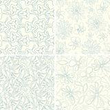Outline floral patterns Stock Images