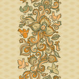 Outline floral seamless border with flowers. Stock Photos