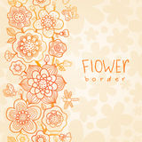 Outline floral summer border on seamless texture. Stock Images
