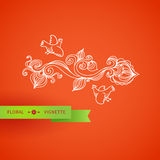 Outline floral vignette with bird, leaves and swirls. Royalty Free Stock Images