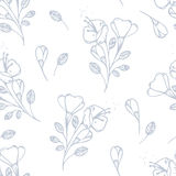 Outline flowers seamless pattern in vector Royalty Free Stock Photography