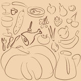 Outline food drawing Stock Photos