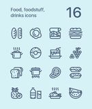 Outline Food, foodstuff, drinks icons for web and mobile design pack 1. 16 outline flat vector icons Stock Photo