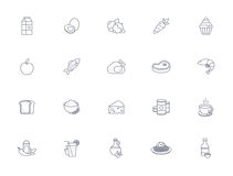Outline food icons. 20 outline food icons for the food categories Stock Illustration