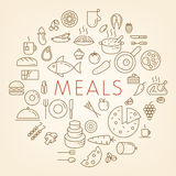 Outline food icons - Meals concept vector illustration.
