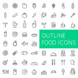 Outline food icons set for web and applications. Royalty Free Stock Photography
