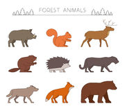 Outline forest animals. Line forest animals. Stock Images
