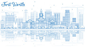 Outline Fort Worth Skyline with Blue Buildings and Reflections. Stock Image