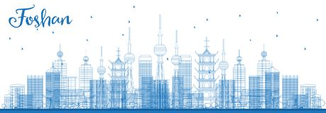 Outline Foshan China City Skyline with Blue Buildings. vector illustration