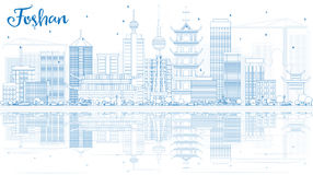 Outline Foshan Skyline with Blue Buildings and Reflections. royalty free illustration