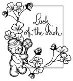 Outline  frame with shamrock contour and teddy bear. Raster clip art. Royalty Free Stock Photos