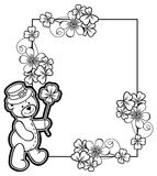 Outline frame with shamrock contour and teddy bear. Raster clip art. Contour frame with shamrock, teddy bear. Copy space. Raster clip art royalty free stock image