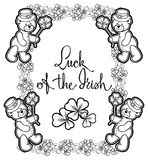 Outline  frame with shamrock contour and teddy bear. Raster clip Royalty Free Stock Image