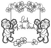 Outline  frame with shamrock contour and teddy bear. Raster clip Royalty Free Stock Images