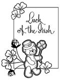 Outline  frame with shamrock contour and teddy bear. Raster clip Stock Images