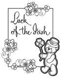 Outline  frame with shamrock contour and teddy bear. Raster clip Royalty Free Stock Photos
