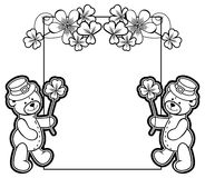 Outline  frame with shamrock contour and teddy bear. Raster clip Stock Image