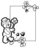 Outline  frame with shamrock contour and teddy bear. Raster clip Stock Photos